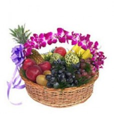 2 Kg Fresh Fruits Basket With Orchids