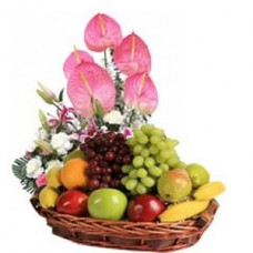 4 Kg Fresh Fruits Basket With Flowers